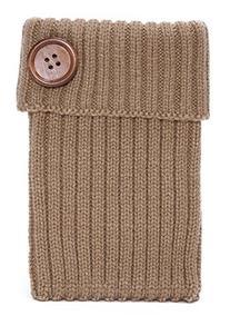 Womens Winter Knitted Leg Warmers w/ Button - Camel