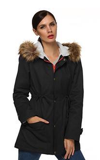 ACEVOG Women's Winter Outwear Down Fleece Coat Hooded Parka