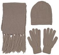 Unisex Adult Winter Ski Beanie Scarf Gloves Set, 57_Khaki