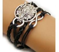 Wolf Infinity Silver Color Black Wax Cords Leather Braid