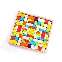 Wood Blocks -  Colored wood block set Natural Wooden