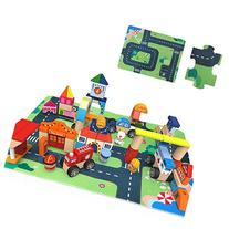 Wood City Traffic Building Blocks - iPlay, iLearn Wooden
