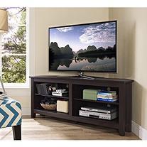 "WE Furniture 58"" Wood Corner TV Stand Console, Espresso"