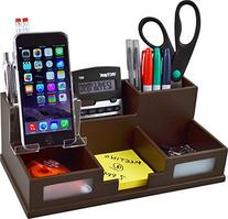 Victor Wood Desk Organizer with Smart Phone Holder, Mocha