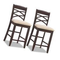 Leick Wood Double Cross Back Counter Height Bar Stool with