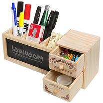 Natural Wood Office Supply Caddy / Pencil Holder / Desktop
