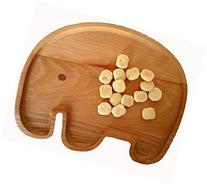 Natural Wood Plate for Kids - Elephant