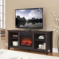 Walker Edison W58FP18ES Fireplace TV Stand , Espresso, 58