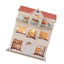 Cuteroom Wooden Dollhouse Miniatures DIY House Kit With led