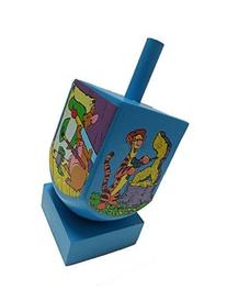 Wooden Hanukah Dreidel with Stand and Pictures of Winnie the