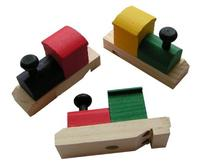 Fun Express Wooden Painted Train-Shaped Whistles - 12 Pieces