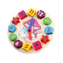 Wooden Shape Sorting Clock Learn to Tell Time Toy Counting