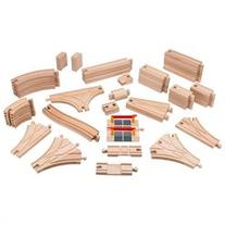 Playbees Wooden Train Track Toy Set 59 Pieces Compatible w/