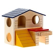 Winstory Wooden Two Layer Villa Bed House Cage for Rat