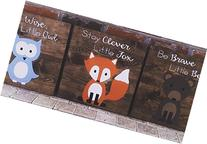 14x14 Set of 3 Woodland Animal Nursery Signs Nursery Decor