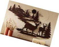 Woodland Cabin & Deer Metal Wall Art