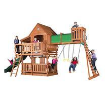 Backyard Discovery Woodridge II All Cedar Wood Playset Swing