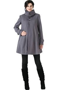 "Momo Maternity ""Jessie"" Wool Blend Pleated Swing Coat - Gray"