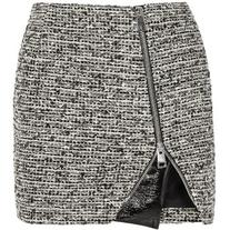 Bouchra Jarrar Wool-blend tweed and faux patent-leather mini