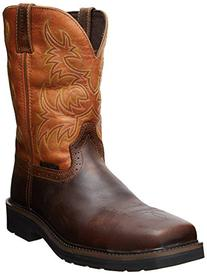 Justin Mens Black Oiled Leather Work Boots 11in Stampede