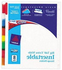 Avery Big Tab Insertable Extra Wide Dividers, 8 Multicolor