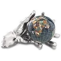 The World In Your Hand 4 Gemstone Globe Silver Hand - Black