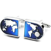 Jstyle Jewelry Men's World Map Shirts Cufflinks, Wedding,