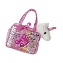 Aurora World Shimmery Fancy Pals Pink Plush Toy Pet Carrier