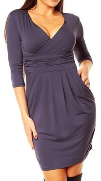 Glamour Empire. Women's Wrap V-Neck Jersey Pencil Dress with