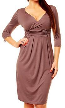 Glamour Empire. Women's Wrap V-Neckline Jersey Pencil Dress
