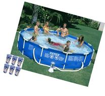 "Intex 12' x 30"" Metal Frame Set Swimming Pool w/ 530 GPH"