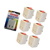 6 Pk x Single Port Outlet Wall Tap Adapter Lighted Switch Power On Off Control