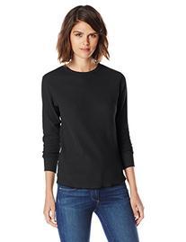Hanes Women's X-Temp Thermal Underwear Crew Shirt, Black,