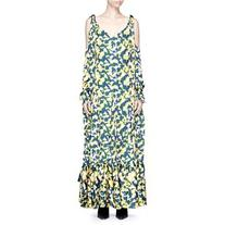 Ych Camouflage print cold shoulder satin maxi dress