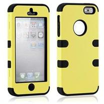 3 Piece Yellow Black Hybrid Hard PC Soft Silicone Back Case