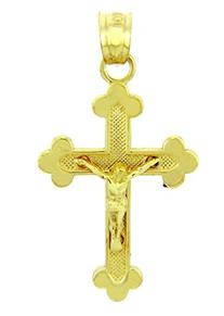 Solid 14k Yellow Gold Budded Cross Charm Crucifix Pendant