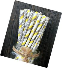 Charmed yellow and grey paper straw mix pack of 75 in stripe