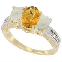 10K Yellow Gold Ladies Oval Natural Whisky Quartz Ring 3-
