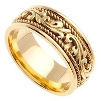 14K Yellow Solid Gold Hand Braided Wedding Ring Band for Men