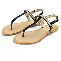 Yoins Black Metal Detail Flat Sandals -Black US 6.5/US 7/US
