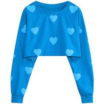 Yoins Oversize Blue Heart Pattern Crop Sweatshirt