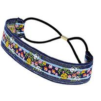 Yoins Pastoral Flower Embroidered Tape Headband in Blue