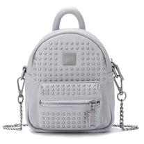 Yoins Rivet Deisgn Leather-look Mini Backpack in Grey