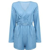 Yoins Self-Tie Back Wrap Romper In Washed Denim