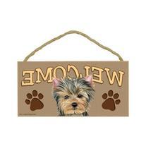 Yorkshire Terrier/Yorkie Wood Welcome Door Sign 5''x10