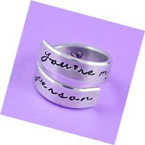 you're my person - Hand Stamped Aluminum Spiral Ring, Grey's