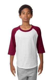 Sport-Tek Youth Colorblock Raglan Jersey, L, White/Cardinal