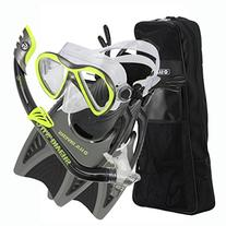 U.S. Divers Youth Flare Junior Silicone Snorkeling Set, Neon