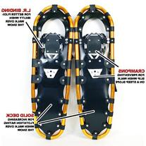 "New MTN Man Woman Kid Youth 30"" Gold Snowshoes +Black Nordic"