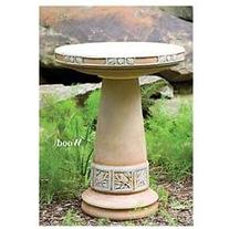 Zanesville Glazed Birdbath Set in Cobalt Blue Glaze by